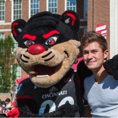 Student with Bearcat. Link to Social Media
